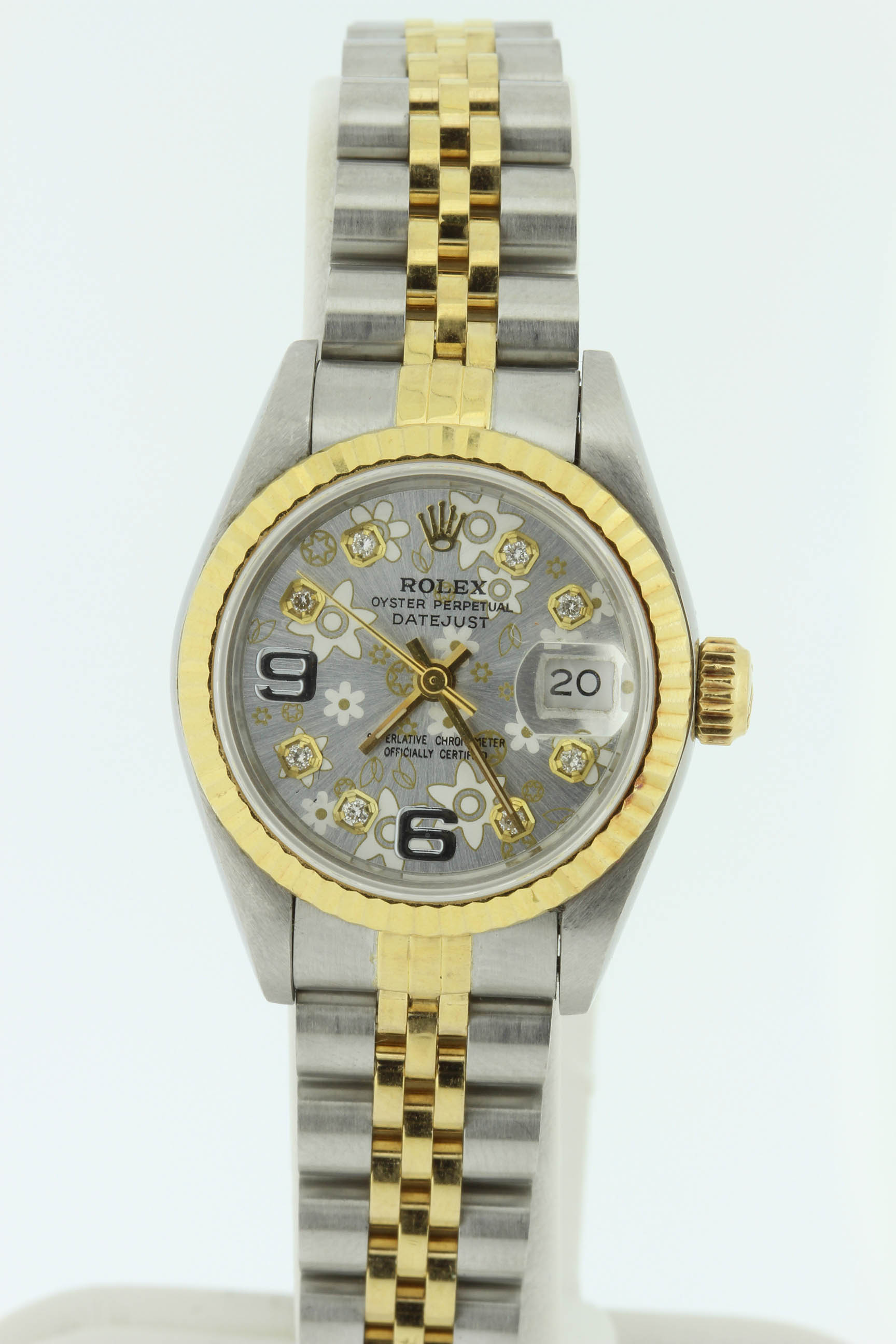 Ladies 18k and Stainless Rolex with custom Diamond Dial $4500