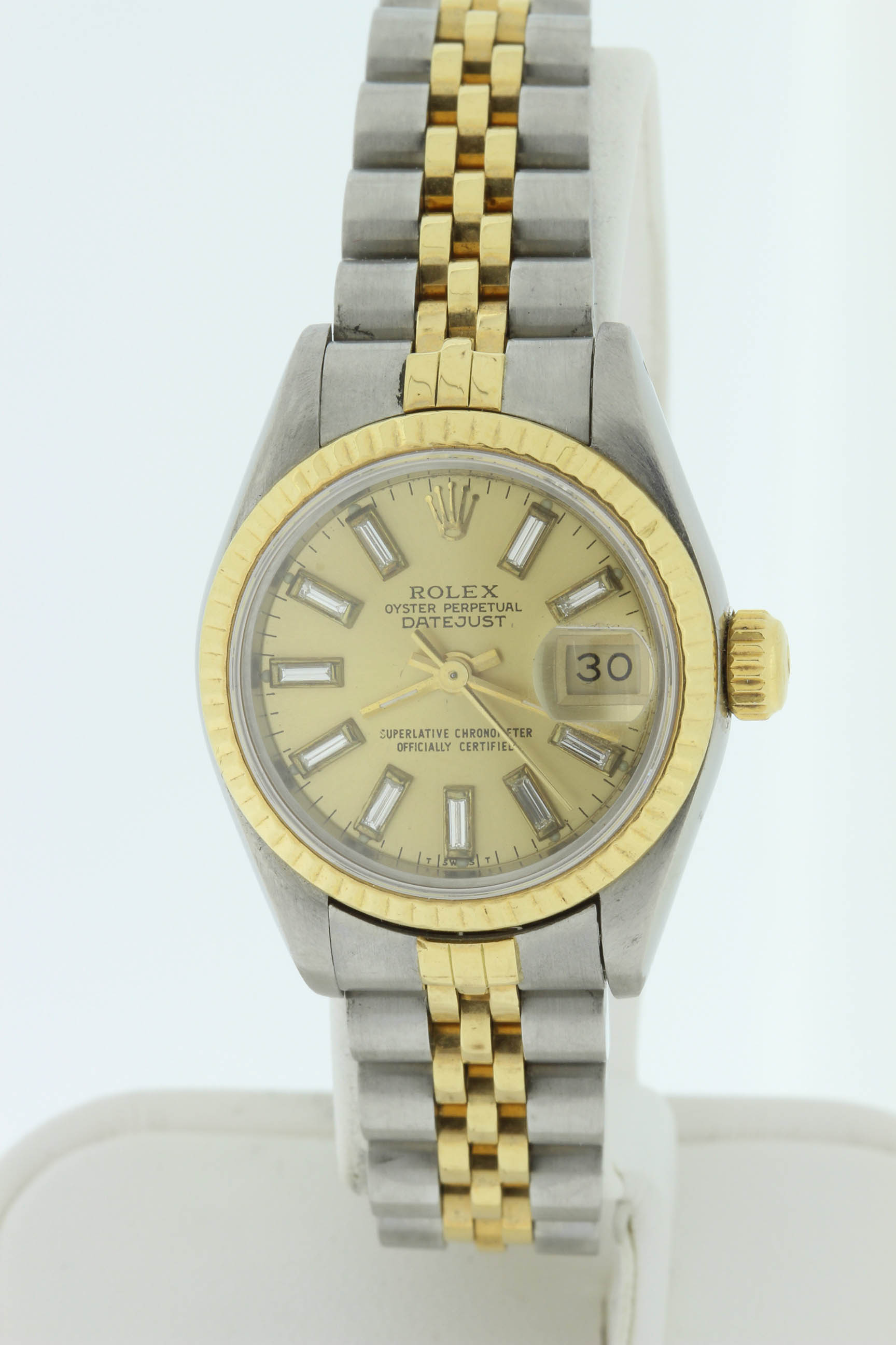 Ladies 18k and Stainless DateJust with Baguette Diamond Dial $4000