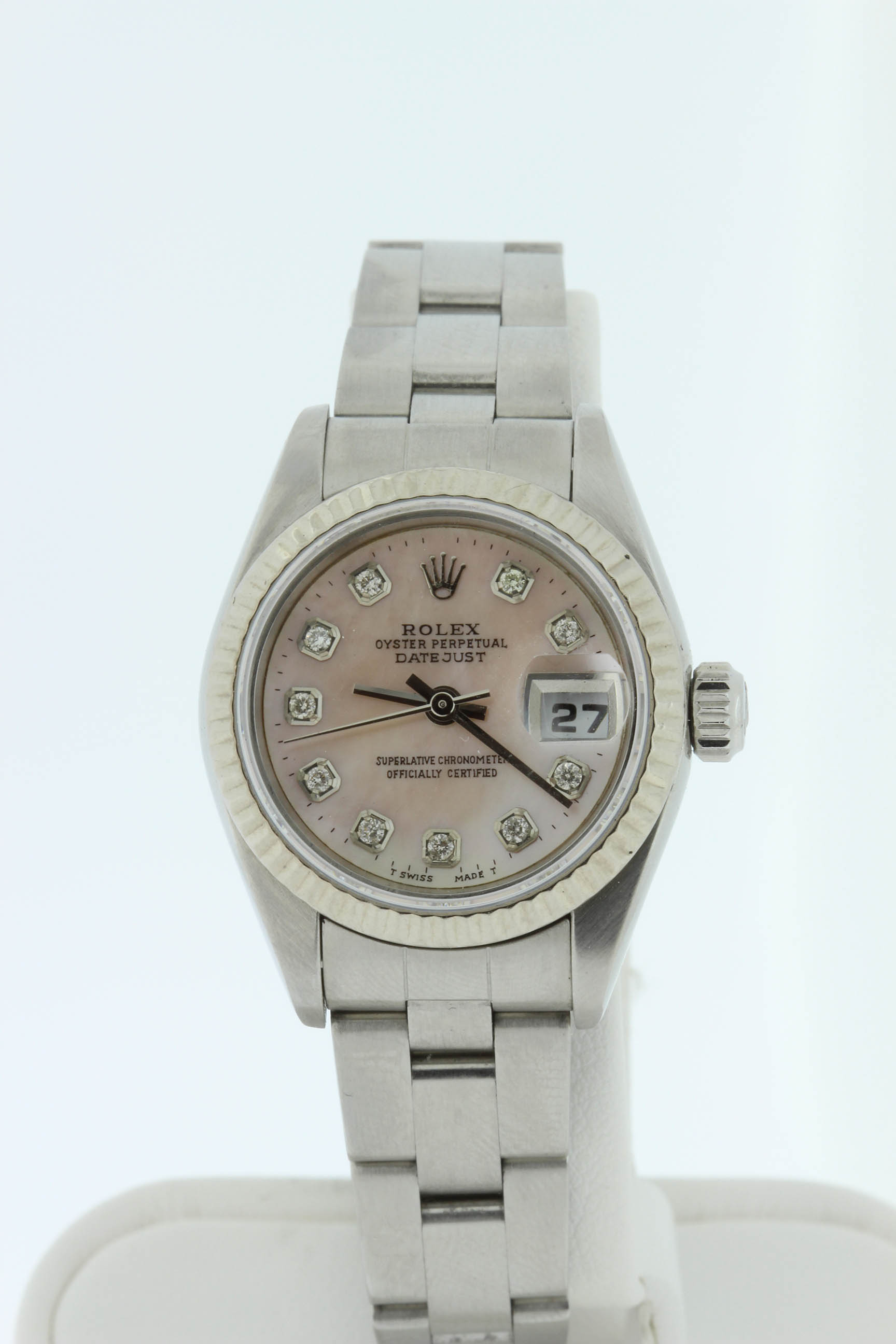 Ladies Stainless Rolex with Mother of Pearl Diamond Dial $3600